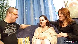 German Mature Strengthen Has Designing FFM Threesome with Teen Hooker