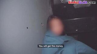 Euro fucked in confessional van before facial