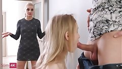 Slim4K - Lightfairy - Two teenage beauts fucking one well hung supplicant