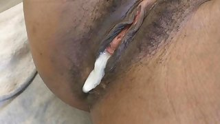 Concise inky amateur pussy gets creampied by white cock