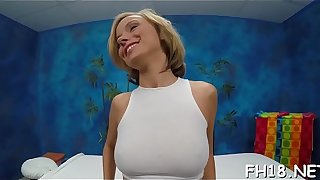 Sexy 18 year old girl gets fucked hard doggystyle by her massage therapeutist