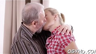 Aged pal inserts cock in young aperture