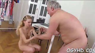 Young playgirl sucks and rides ancient rod
