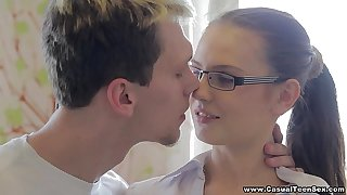 Unwitting Teen Mating - Unwitting Mating with college teen porn nerd Timea Bella