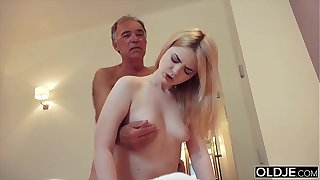 Nympho sucks grandpa cock and has coition with him in her bedroom