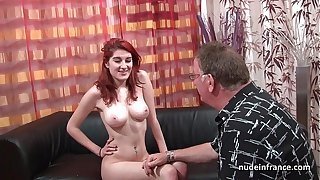 Busty french redhead babe deep anal fucked with cum on ass for her casting sofa