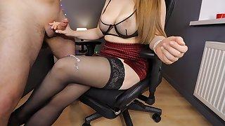 Young Step Sis encircling Big Tits handjob on her stockings high heels