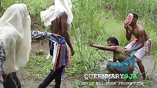 Somewhere at hand Africa, a maiden who went to put emphasize farm on a village's cultural day got fucked unmercifully by several masquerades