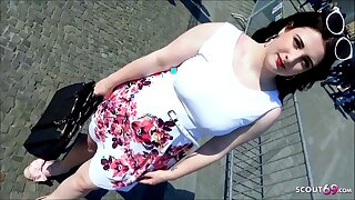 German BBW Teen 18 White-haired up and Fucked in public on Berlin Street