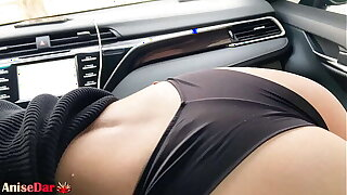 Sexy Dame Sensual Sucking Dick in Car validation Work - Cum in Mouth